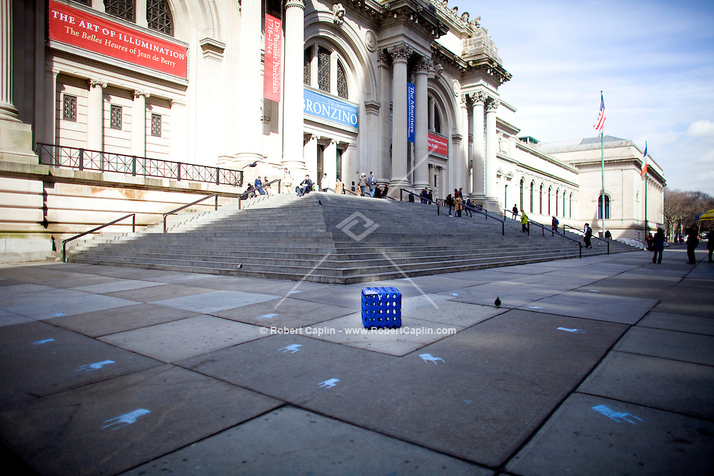 "The magazine House Beautiful gave away blue chairs all around Manhattan to promote their March ""blue"" issue. A chair was left at the Metropolitian Museum of Art in New York. ..Photo by Robert Caplin"