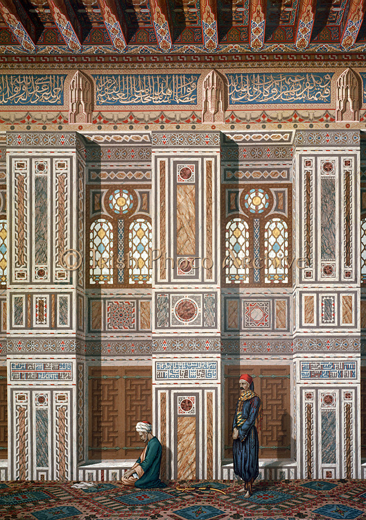 Interior of the Mosque of Khosne Ahmed el-Bordeyny. Chromolithograph after  Emile Prisse d'Avennes, (1807-1879) French architect, engineer  and orientalist. Two men at prayer.  Religion Islam