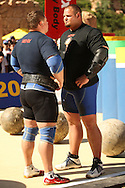 Defending champion Zydrunas Savickas (Lithuania) on the left and Brian Shaw (USA) having a stare-down before the Atlas Stones event during the final rounds of the World's Strongest Man competition held in Sun City, South Africa.
