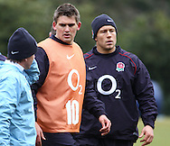 Surrey - Tuesday, February 23rd, 2010: England's Toby Flood and Johnny Wilkinson during training at Pennyhill Park Hotel ahead of the RBS Six Nations match against Ireland due to take place on Saturday 27th February 2010. (Pic by Andrew Tobin/Focus Images)