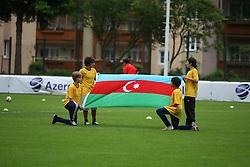 29.05.2010, Bischhofshofen, AUT, Freundschaftsspiel, Mazedonien vs Aserbaidschan, im Bild Fahne Aserbaidschan, EXPA Pictures © 2010, PhotoCredit: EXPA/ R.Hackl / SPORTIDA PHOTO AGENCY