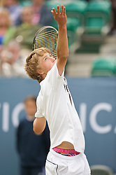 LIVERPOOL, ENGLAND - Thursday, June 18, 2009: Liam Broady (GBR), wearing Bjorn Borg underpants, during Day Two of the Tradition ICAP Liverpool International Tennis Tournament 2009 at Calderstones Park. (Pic by David Rawcliffe/Propaganda)