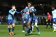 Wycombe Wanderers defender Anthony Stewart (5) scores a goal and celebrates  1-0 during the The FA Cup match between Wycombe Wanderers and Tranmere Rovers at Adams Park, High Wycombe, England on 20 November 2019.