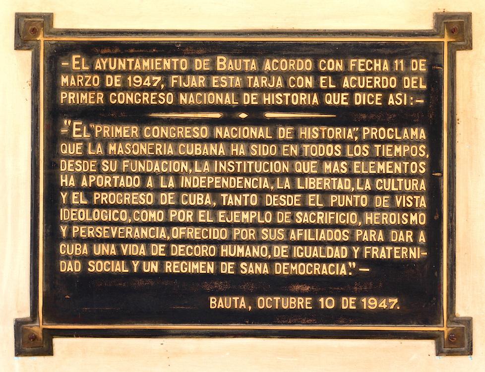 Plaque at the masonic lodge in Bauta, Artemisa, Cuba.