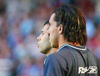Photo: Chris Ratcliffe.<br /> West Ham United v Aston Villa. The Barclays Premiership. 10/09/2006.<br /> Carlos Tevez (r) and Javier Mascherano of West Ham.