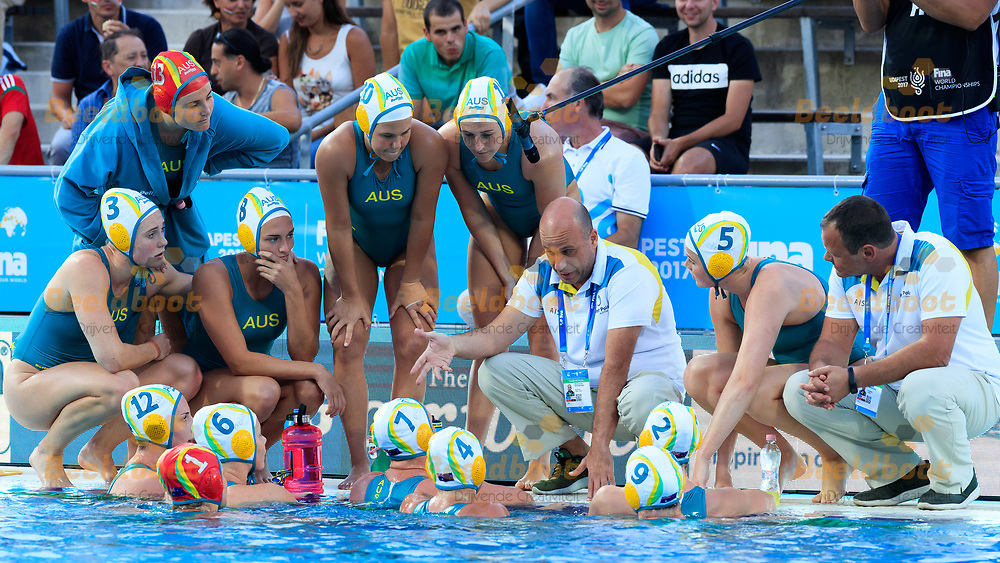 16-07-2017: Waterpolo: Australie  v Kazachstan: Boedapest<br /> <br /> Athansios Kechagias coach  of Australia gives instruction  during the waterpolomatch between women Australia and Kazachstan during the 17th FINA World Championships 2017 in Budapest, Hungary<br /> <br /> Photo / Foto: Gertjan Kooij