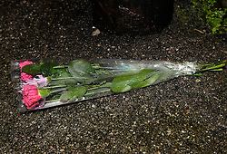 © Licensed to London News Pictures. 27/01/2013. Bristol, UK. Flowers are left near to the scene where two cyclists, a man and a woman, died after they were involved in a hit and run accident with a vehicle in Lower Hanham Road, Hanham, Bristol.  27 January 2013..Photo credit : Simon Chapman/LNP