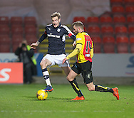 Dundee&rsquo;s Kevin Holt closes down Partick Thistle's Christie Elliot- Partick Thistle v Dundee in the Ladbrokes Scottish Premiership at Firhill, Glasgow - Photo: David Young, <br /> <br />  - &copy; David Young - www.davidyoungphoto.co.uk - email: davidyoungphoto@gmail.com