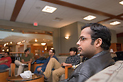 18110Student Kishan Ahuja watches the ICC Cricket World Cup, India vs. Sri Lanka in Baker Center on Friday, March 23rd