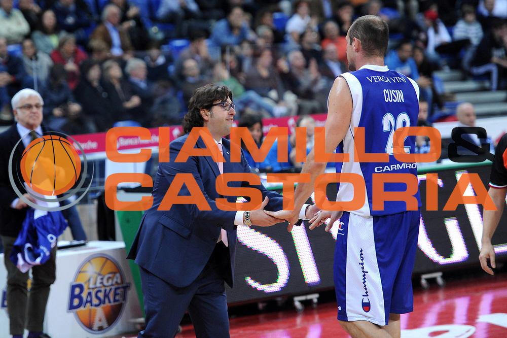 DESCRIZIONE : Pesaro Lega A 2012-13 Scavolini Banca Marche Pesaro Chebolletta Cantu<br /> GIOCATORE : Andrea Trinchieri Marco Cusin<br /> CATEGORIA : esultanza coach<br /> SQUADRA : Chebolletta Cantu<br /> EVENTO : Campionato Lega A 2012-2013 <br /> GARA : Scavolini Banca Marche Pesaro Chebolletta Cantu<br /> DATA : 18/11/2012<br /> SPORT : Pallacanestro <br /> AUTORE : Agenzia Ciamillo-Castoria/C.De Massis<br /> Galleria : Lega Basket A 2012-2013  <br /> Fotonotizia : Pesaro Lega A 2012-13 Scavolini Banca Marche Pesaro Chebolletta Cantu<br /> Predefinita :