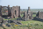 The ruins of Lindisfarne Priory on the holy island of Lindisfarne, England.