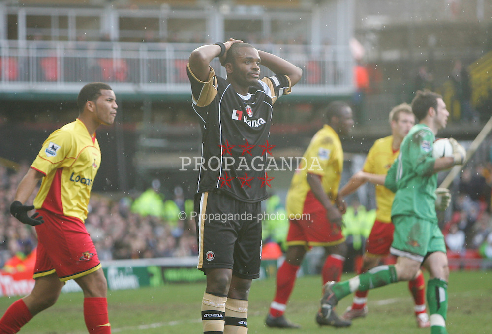 London, England - Saturday, March 3, 2007: Watford are let off as Charlton Athletic's Darren Bent is gutted during the Premiership match at Vicarage Road. (Pic by Chris Ratcliffe/Propaganda)