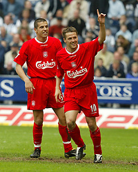 WEST BROMWICH, ENGLAND - Saturday, April 26, 2003: Liverpool's Michael Owen celebrates his second goal, the Reds' third, with Milan Baros as West Bromwich Albion's goalkeeper Russel Hoult looks on during the Premiership match at the Hawthorns. (Pic by David Rawcliffe/Propaganda)