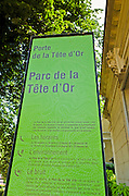 Sign at Parc de la Tete d'Or, Lyon, France (UNESCO World Heritage Site)