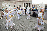VATICAN CITY, ITALY 27 SEPT 2017: A group of Mexican Pilgrims greet Pope Francis with dancing at the General Audience in St. Peters Square on Sept. 27, 2017