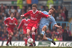 COVENTRY, ENGLAND - Saturday, April 6, 1996: Liverpool's Steve McManaman in action against Coventry City's Kevin Richardson during the Premiership match at Highfield Road. Coventry won 1-0. (Pic by David Rawcliffe/Propaganda)