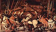 1438-40 'Niccolò Mauruzi da Tolentino unseats Bernardino della Ciarda at the Battle of San Romano' Paolo Uccello (1397 – 10 December 1475), Italian painter.