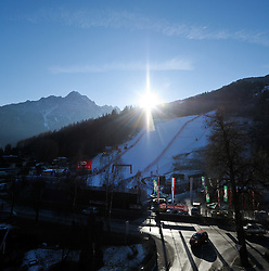27.12.2011, Hochstein, Lienz, AUT, letzte Vorbereitungen am Hochstein vor dem morgigen Renntag am Hochstein, im Bild Die Sonne geht hinter dem Hochstein unter // last preperations before the first race day tomorrow, Lienz, 27-12-2011, EXPA Pictures © 2011, PhotoCredit: EXPA/ M. Gruber
