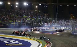 September 16, 2018 - Singapore, Singapore - Motorsports: FIA Formula One World Championship 2018, Grand Prix of Singapore, .#44 Lewis Hamilton (GBR, Mercedes AMG Petronas Motorsport), #33 Max Verstappen (NLD, Aston Martin Red Bull Racing), #5 Sebastian Vettel (GER, Scuderia Ferrari) (Credit Image: © Hoch Zwei via ZUMA Wire)