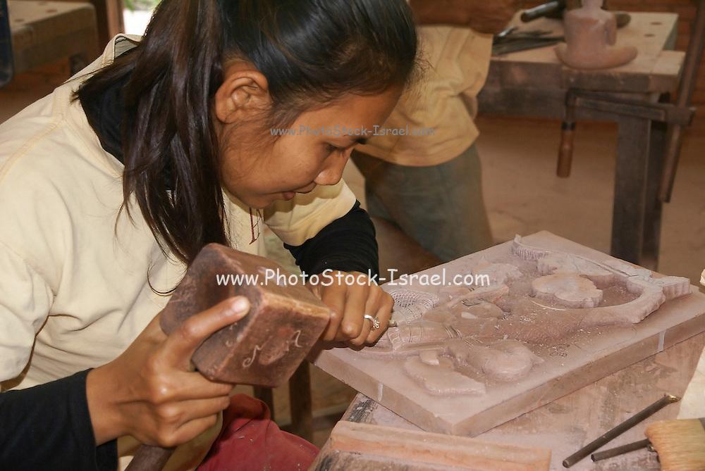 Cambodia, Siem Reap, Angkor Artisans training school (Artisans d'Angkor)