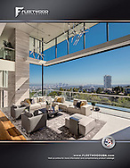 Photograph of a modern steel glass home in West Hollywood Hills. Advertisement for Fleetwood Doors and Windows