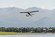 A floatplane takes off from Lake Hood Floatplane base in Anchorage, Alaska. Lake Hood is the worlds busiest float plane base handling over 200 individual flights per day.