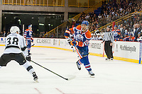 KELOWNA, CANADA - OCTOBER 2: Darnell Nurse #25 of the Edmonton Oilers takes a shot on net against Los Angeles Kings on October 2, 2016 at Kal Tire Place in Vernon, British Columbia, Canada.  (Photo by Marissa Baecker/Shoot the Breeze)  *** Local Caption *** Darnell Nurse;
