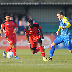 TELFORD COPYRIGHT MIKE SHERIDAN 23/2/2019 - Amari Morgan Smith of AFC Telford skips away from Jamey Osborne during the FA Trophy quarter final fixture between Solihull Moors and AFC Telford United at the Automated Technology Group Stadium