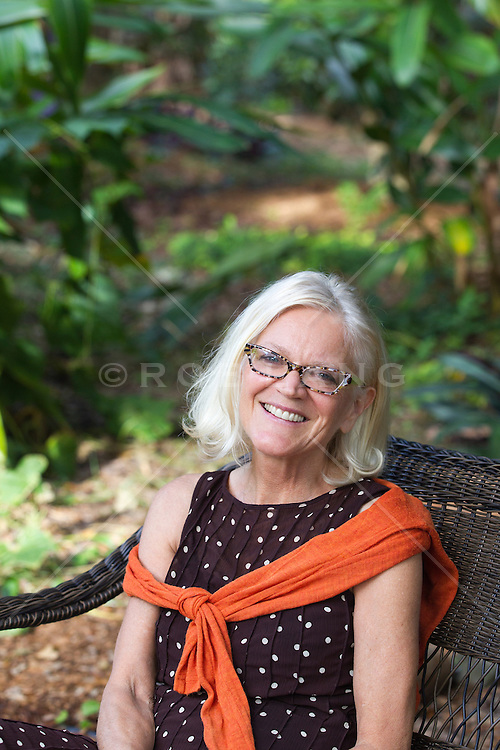 portrait of an attractive middle aged woman outdoors