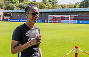Brighton & Hove Albion Manager Hope Powell enjoying a coffee prior to the FA Women's Super League match between Brighton and Hove Albion Women and Chelsea at The People's Pension Stadium, Crawley, England on 15 September 2019.