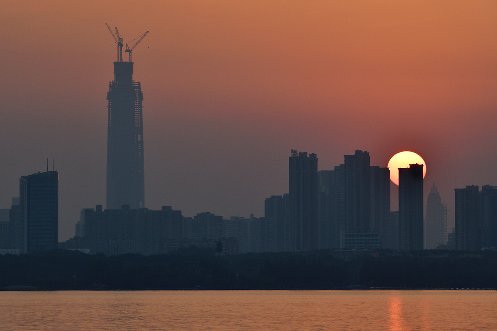 Sunset skyline of Wuhan, East Lake Greenway park, Wuhan, Hubei, China