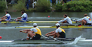 "Lucerne; SWITZERLAND; Men's Pair final. Gold. AUS1. Bow. Matthew LONG and; James TOMKINS. GER2. M2- Bow. Robert SENS and Detlef KIRCHHOFF; FRA M2- Bow Michel ANDRIEUX and; Jean-Christophe ROLLAND. 2000 FISA World Cup; Rotsee Rowing Course; June 2000.; ""Mandatory Credit, Peter Spurrier/Intersport-images""; . 2000 FISA World Cup, Lucerne, SWITZERLAND"