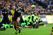 Wasps wing Marcus Watson  takes a catch during the Aviva Premiership match between Wasps and Exeter Chiefs at the Ricoh Arena, Coventry, England on 18 February 2018. Picture by Dennis Goodwin.