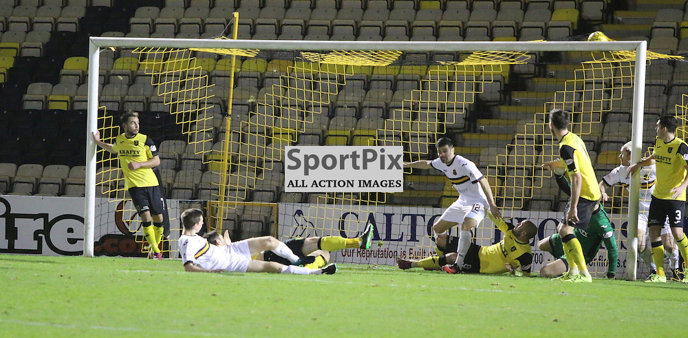 Steven Saunders rescues a point for Dumbarton  during the Livingston v Dumbarton  Scottish Championship  19  December 2015 <br /> <br /> (c) Andy Scott | SportPix.org.uk