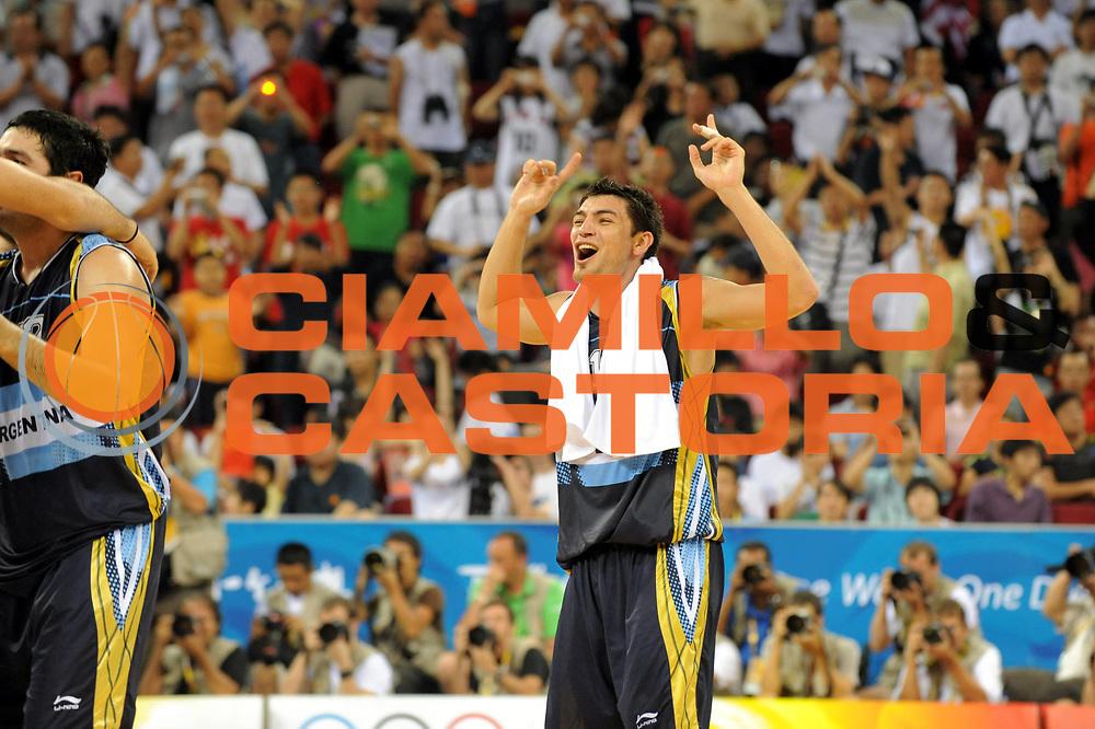 DESCRIZIONE : Beijing Pechino Olympic Games Olimpiadi 2008 Final Bronze Medal 3-4 posto place Lithuania Argentina<br />GIOCATORE : Carlos Delfino<br />SQUADRA : Argentina<br />EVENTO : Olympic Games Olimpiadi 2008<br />GARA : Lituania Argentina<br />DATA : 24/08/2008 <br />CATEGORIA : Esultanza<br />SPORT : Pallacanestro <br />AUTORE : Agenzia Ciamillo-Castoria/M.Ciamillo<br />Galleria : Beijing Pechino Olympic Games Olimpiadi 2008 <br />Fotonotizia : Beijing Pechino Olympic Games Olimpiadi 2008 Final Bronze Medal 3-4 posto place Lithuania Argentina<br />Predefinita :