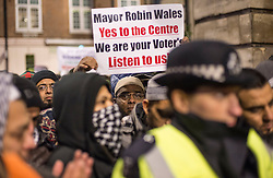 © Licensed to London News Pictures. 05/12/20112. London, United Kingdom. Supporters gather ahead of the mega mosque planning meeting at Stratford Town Hall.  Newham council rejected the application to build a 10'000 capacity mega mosque in West Ham . Photo credit : Justin Setterfield/LNP