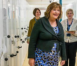 Pictured: Scottish Government Public Libraries Funding Announcement. Culture Minister Fiona Hyslop announces this year's successful bids to the £450,000 Public Library Improvement Fund (PLIF) at the John Grey Centre, Haddington Library, Haddington, East Lothian, Scotland, United Kingdom.  PLIF has been supporting innovative library projects since 2006 which help both individuals and communities. Fiona Hyslop visits the archives of East Lothian to see Haddington's 700 year old charter from Robert the Bruce, the anniversary of which is being celebrated this year. 13 December 2018  <br /> <br /> Sally Anderson | EdinburghElitemedia.co.uk