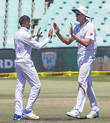 Durban. 020318. Keshav Maharaj of South Africa celebrates the wicket of Mitchell Starc during the Sunfoil Test match played at Kingsmead, Durban. Picture Leon Lestrade/African News Agancy/ANA.