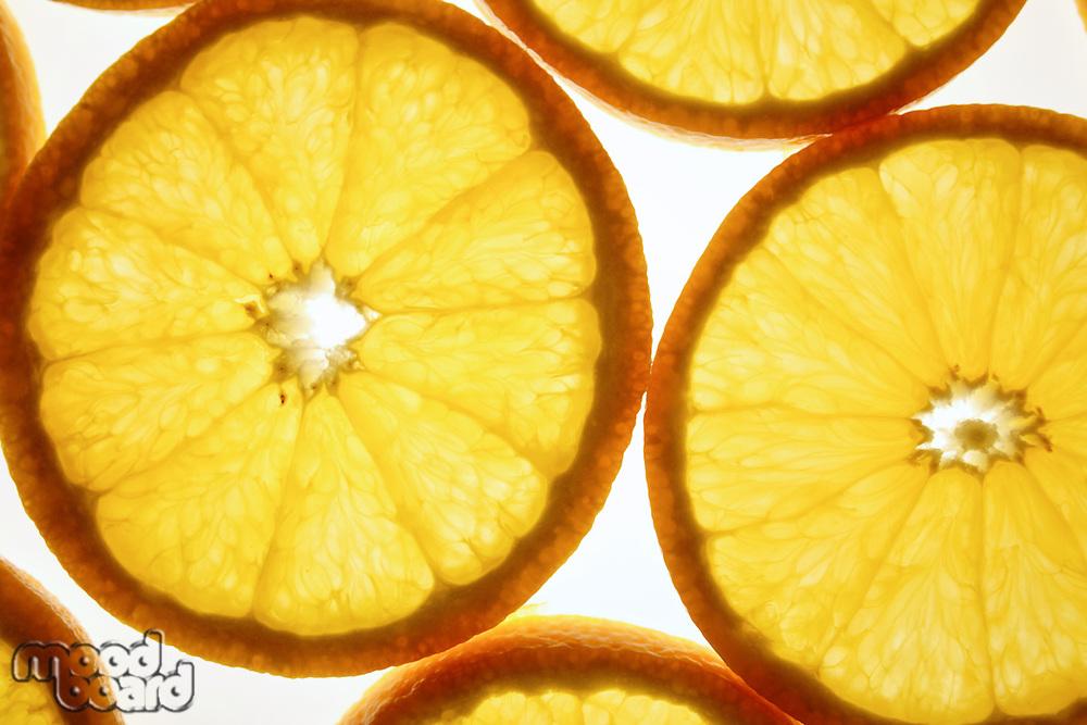 Close up of oranges on white background