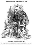 "Punch's Fancy Portraits.  No. 104. Right Hon Osborne Morgan, M.P. He undertook the Burials Act, a most successful undertaking! Now he's the man for the ladies. Vide his ""Married Women's Prop.Act."""