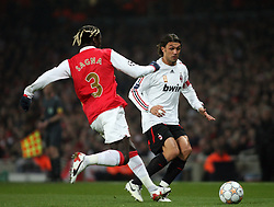 LONDON, ENGLAND - Wednesday, February 20, 2008 : Arsenal's Bacary Sagna in action against AC Milan's Paulko Maldini during the UEFA Champions 1st Knockout Round, 1st Leg match at The Emirates Stadium. (Photo by Chris Ratcliffe/Propaganda)
