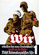 Nazi Propaganda poster 1932. Two soldiers, one with  bandaged head, say 'We (the National Socialists) are creating a new Germany and making sacrifices. Vote Nationalsozialistische Deutsche Arbeiter-Partei, No 1 on list'.  Election