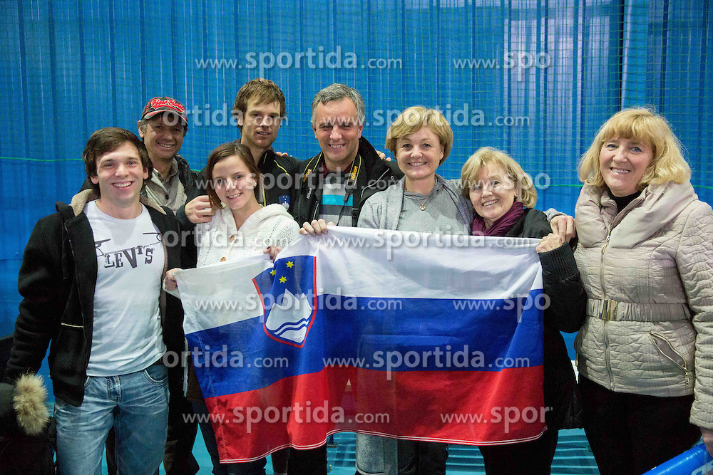 Family and fans with Blaz Kavcic of Slovenia after he won during the 2nd match of Davis cup Slovenia vs. Portugal on January 31, 2014 in Kranj, Slovenia. Photo by Vid Ponikvar / Sportida