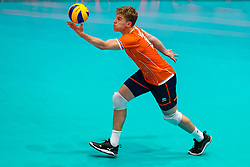 11-08-2019 NED: FIVB Tokyo Volleyball Qualification 2019 / Netherlands - USA, Rotterdam<br /> Final match pool B in hall Ahoy between Netherlands vs. United States (1-3) and Olympic ticket  for USA / Gijs van Solkema #15 of Netherlands