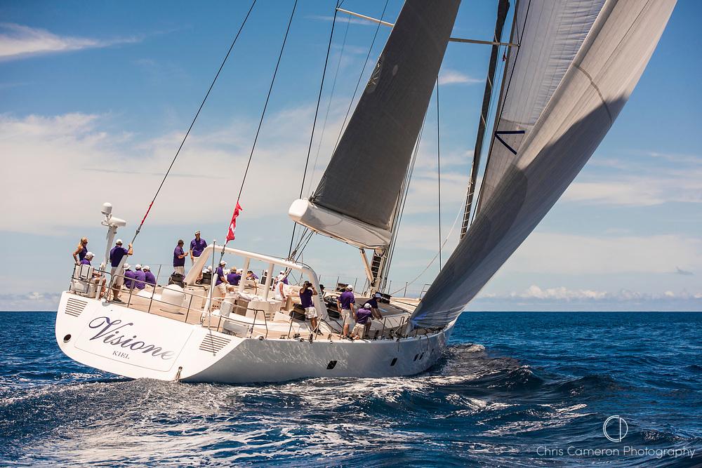 Bermuda, 13th June 2017. America's Cup Superyacht regatta. Race one. Visione.