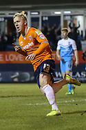 Mark Cullen of Luton Town celebrates scoring his team's first goal against York City to make it 1-2 during the Sky Bet League 2 match at Kenilworth Road, Luton<br /> Picture by David Horn/Focus Images Ltd +44 7545 970036<br /> 10/02/2015
