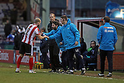 Lincoln City Manager Danny Cowley gives instruction to Lincoln City Defender Bradley Wood (2) during the The FA Cup fourth round match between Lincoln City and Brighton and Hove Albion at Sincil Bank, Lincoln, United Kingdom on 28 January 2017.
