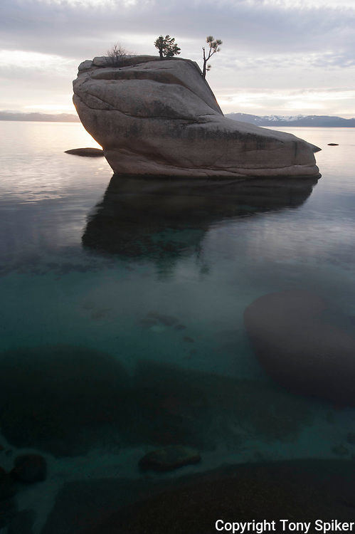 """""""Bonsai Rock Sunset 6"""" - A landscape photograph of a clearing storm at sunset over Lake Tahoe taken at Bonsai Rock"""