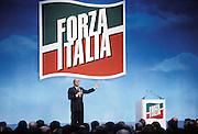 Silvio Berlusconi, Presiden of Forza Italia political party, speaks at Forza Italia Convention in Assago, Milan, March 13, 1994. © Carlo Cerchioli