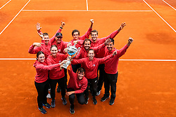 Winnig team East with trophy after Day 3 of tennis tournament Mima Jausovec cup where compete best Slovenian tennis players of the East and West, on June 8, 2020 in RCU Lukovica, Slovenia. Photo by Matic Klansek Velej / Sportida